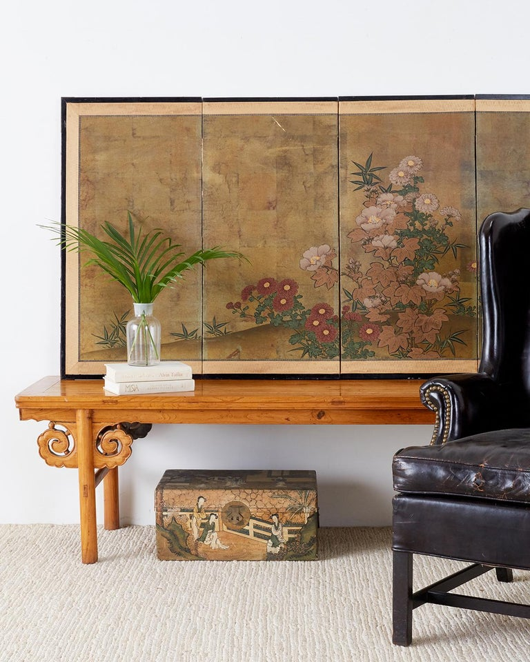 Japanese Four-Panel Flowers of Autumn Byobu Screen 1