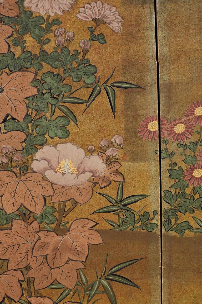 Japanese Four-Panel Flowers of Autumn Byobu Screen 2