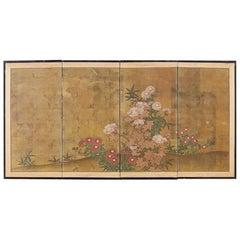 Japanese Four-Panel Flowers of Autumn Byobu Screen
