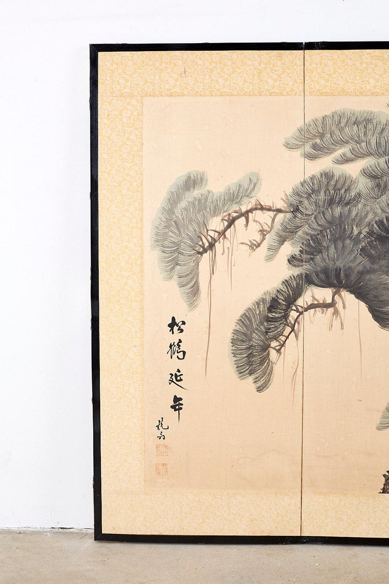 Lacquered Japanese Four-Panel Longevity Screen of Pine Cranes For Sale