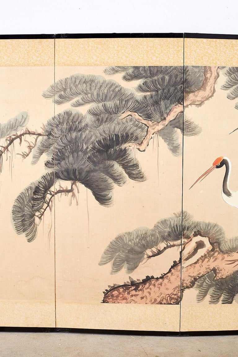 Japanese Four-Panel Longevity Screen of Pine Cranes In Good Condition For Sale In Oakland, CA