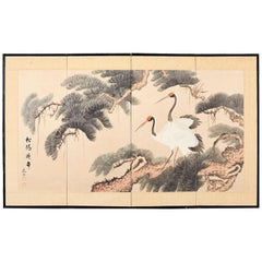 Japanese Four-Panel Longevity Screen of Pine Cranes