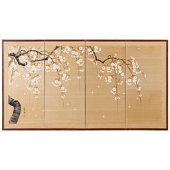 Japanese Four-Panel Prunus Blossom on Silk Screen