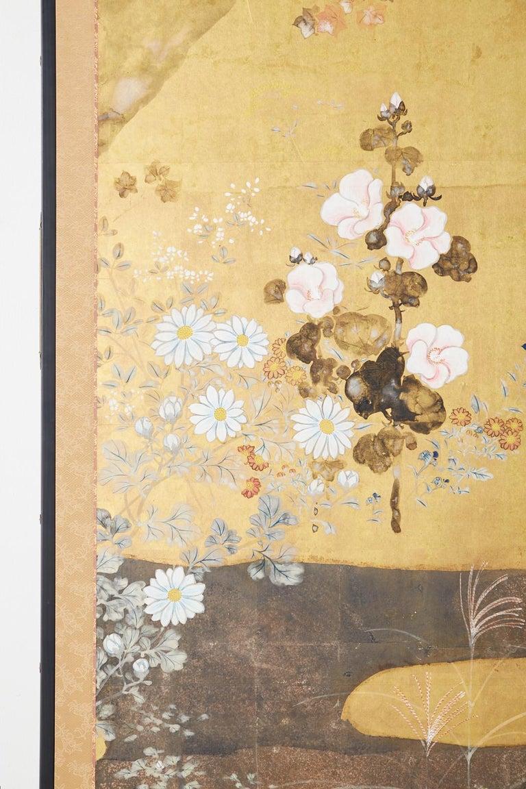 Japanese Four-Panel Rimpa Screen Floral Autumn Landscape For Sale 3