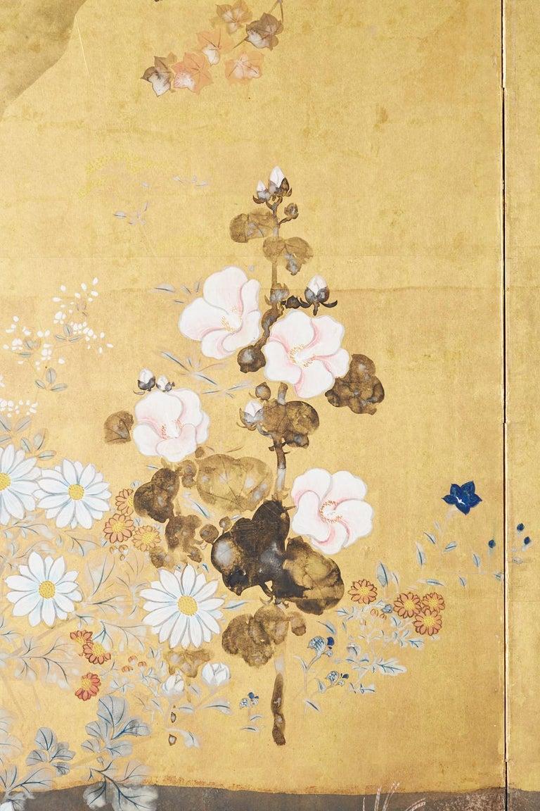 Japanese Four-Panel Rimpa Screen Floral Autumn Landscape For Sale 4