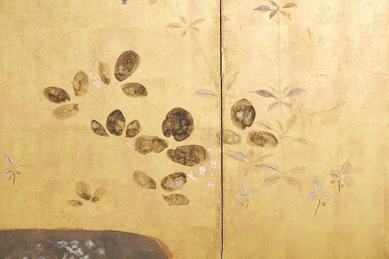Japanese Four-Panel Rimpa Screen Floral Autumn Landscape For Sale 5