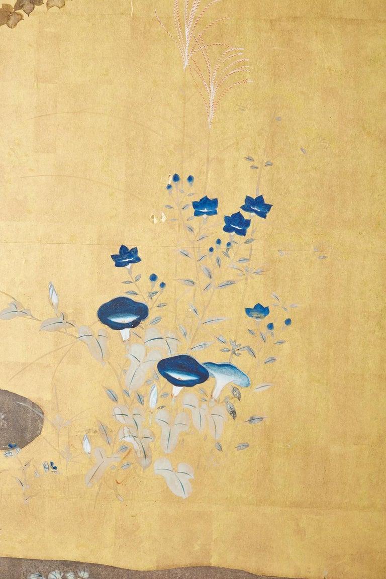 Japanese Four-Panel Rimpa Screen Floral Autumn Landscape For Sale 6