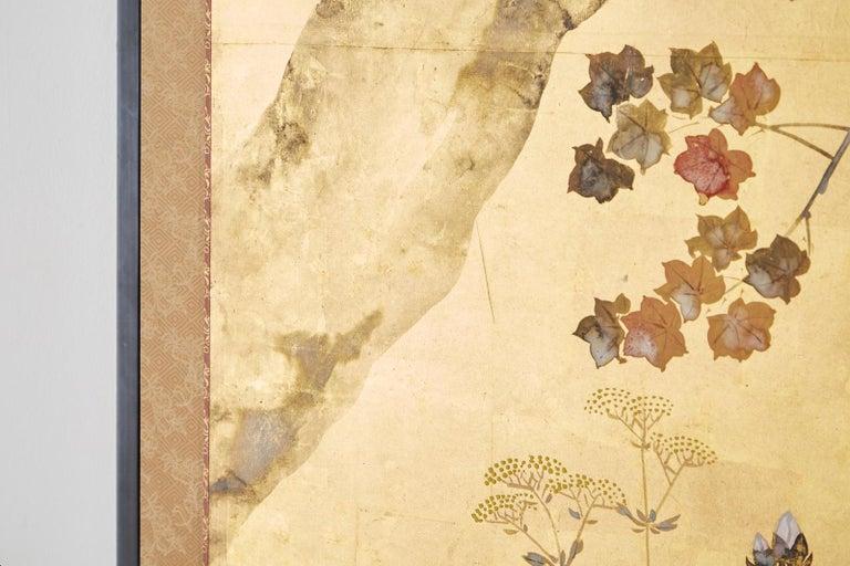 Japanese Four-Panel Rimpa Screen Floral Autumn Landscape For Sale 7