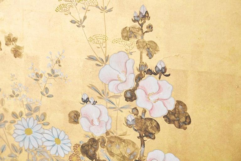 Japanese Four-Panel Rimpa Screen Floral Autumn Landscape For Sale 8