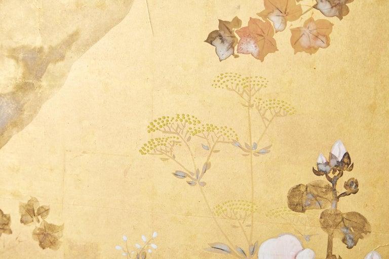 Japanese Four-Panel Rimpa Screen Floral Autumn Landscape For Sale 9