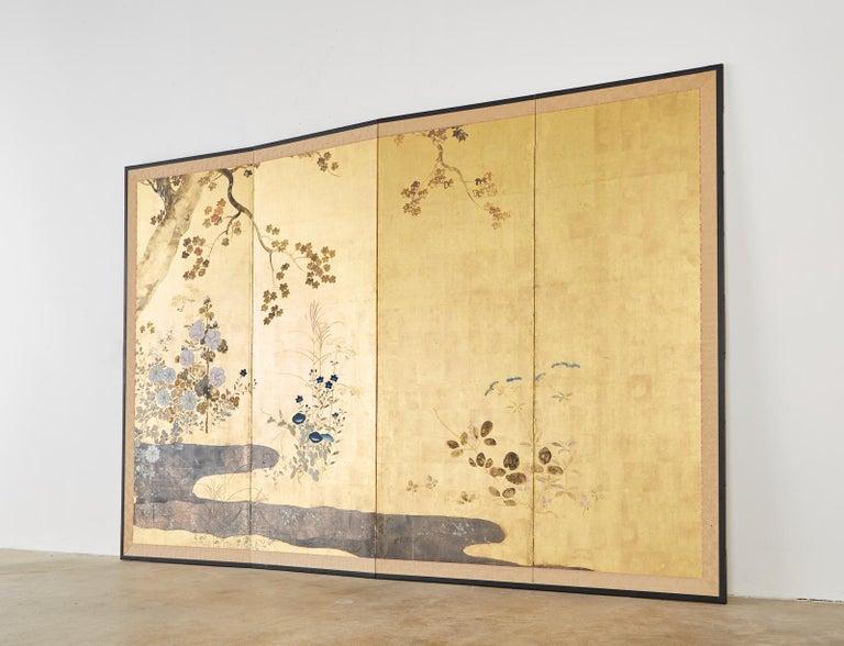 Japanese Four-Panel Rimpa Screen Floral Autumn Landscape For Sale 10