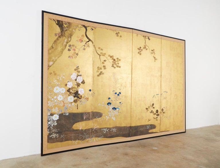 Japanese Four-Panel Rimpa Screen Floral Autumn Landscape For Sale 11