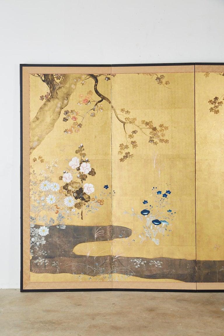 Meiji Japanese Four-Panel Rimpa Screen Floral Autumn Landscape For Sale