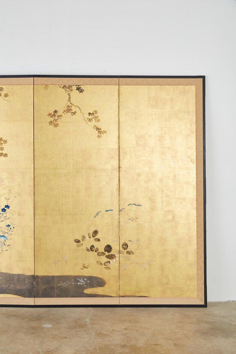 Ebonized Japanese Four-Panel Rimpa Screen Floral Autumn Landscape For Sale