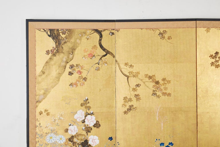 Japanese Four-Panel Rimpa Screen Floral Autumn Landscape In Good Condition For Sale In Oakland, CA