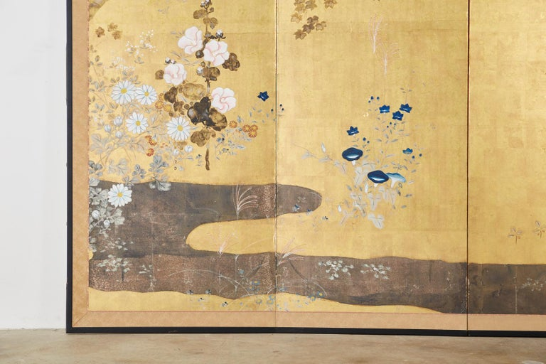 19th Century Japanese Four-Panel Rimpa Screen Floral Autumn Landscape For Sale