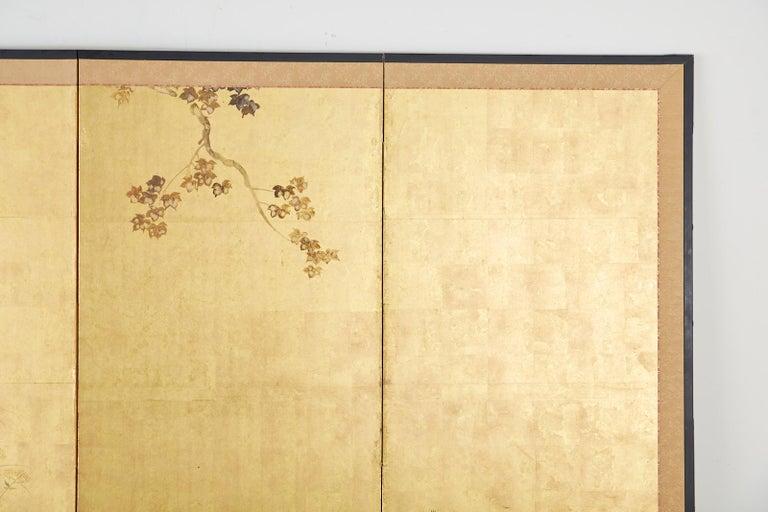 Brass Japanese Four-Panel Rimpa Screen Floral Autumn Landscape For Sale