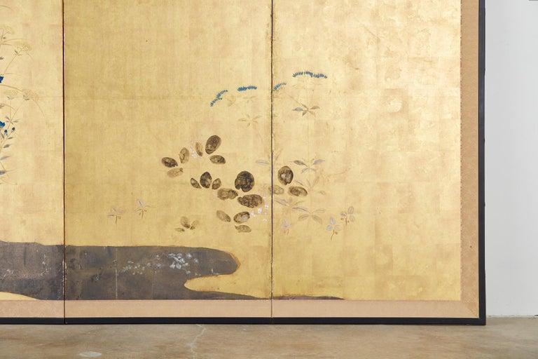 Japanese Four-Panel Rimpa Screen Floral Autumn Landscape For Sale 1