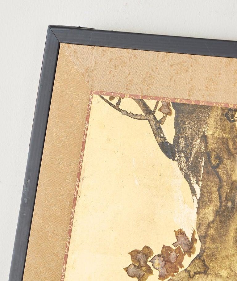 Japanese Four-Panel Rimpa Screen Floral Autumn Landscape For Sale 2