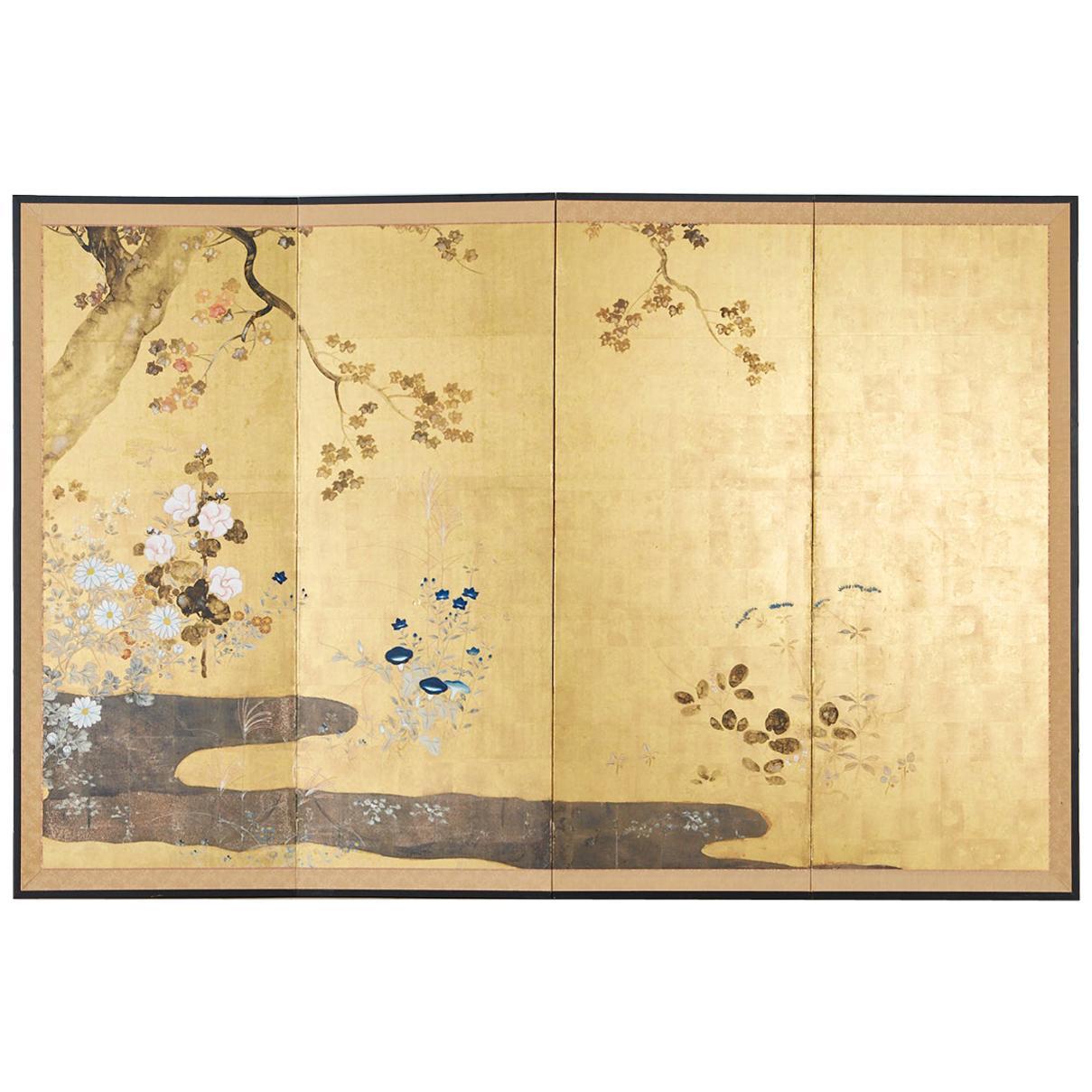 Japanese Four-Panel Rimpa Screen Floral Autumn Landscape