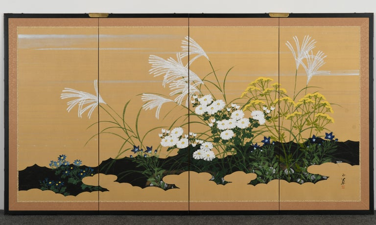 Japanese Four-Panel Screen, 20th Century For Sale 5