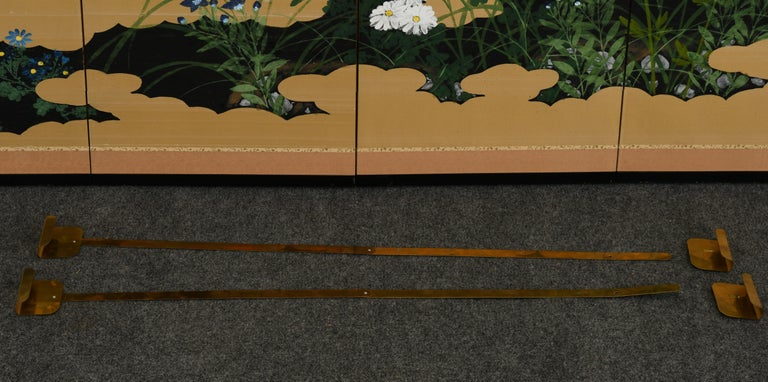 Fabric Japanese Four-Panel Screen, 20th Century For Sale