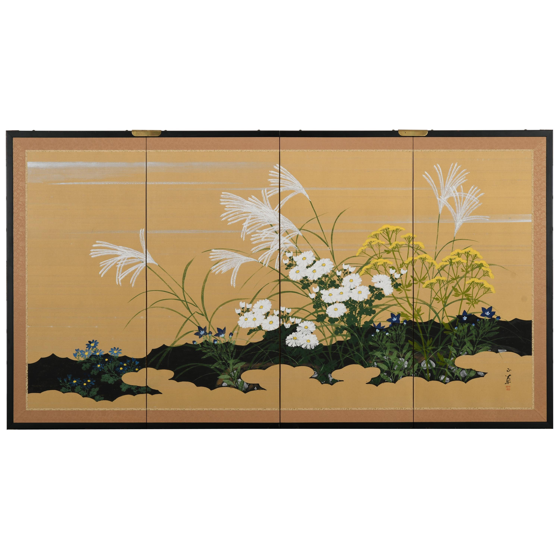 Japanese Four-Panel Screen, 20th Century