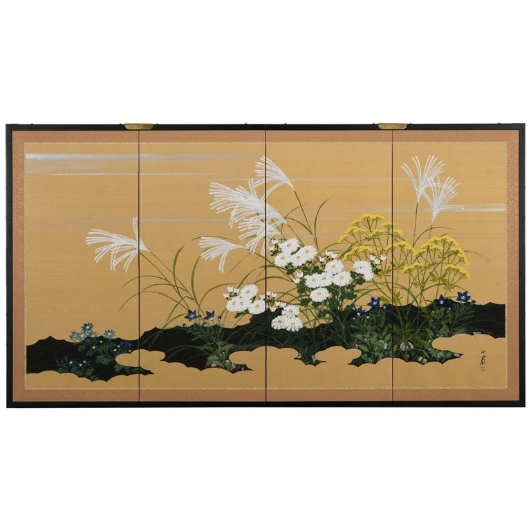 Japanese Four-Panel Screen, 20th Century For Sale