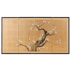 Japanese Four Panel Screen Ancient Sakura Cherry Blossom