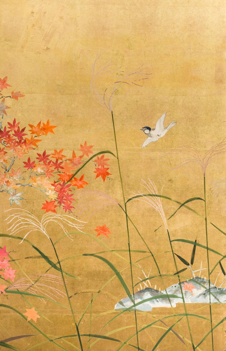 Taisho Japanese Four Panel Screen, Autumn Flowers For Sale