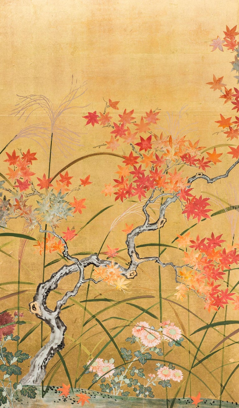 Japanese Four Panel Screen, Autumn Flowers In Good Condition For Sale In Hudson, NY