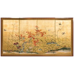 Japanese Four Panel Screen, Autumn Flowers