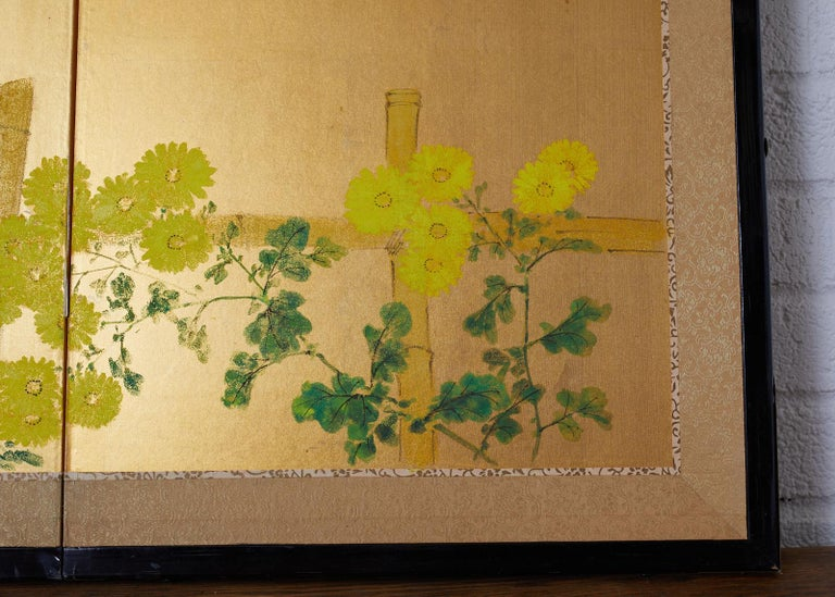 Japanese Four-Panel Screen Autumn Maple and Chrysanthemum For Sale 4