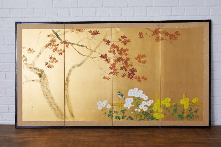 Japanese Four-Panel Screen Autumn Maple and Chrysanthemum For Sale 5
