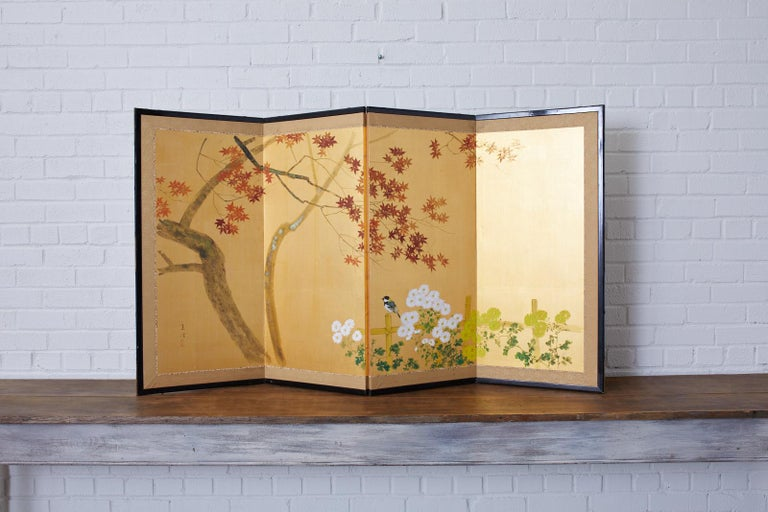 Japanese Four-Panel Screen Autumn Maple and Chrysanthemum For Sale 6