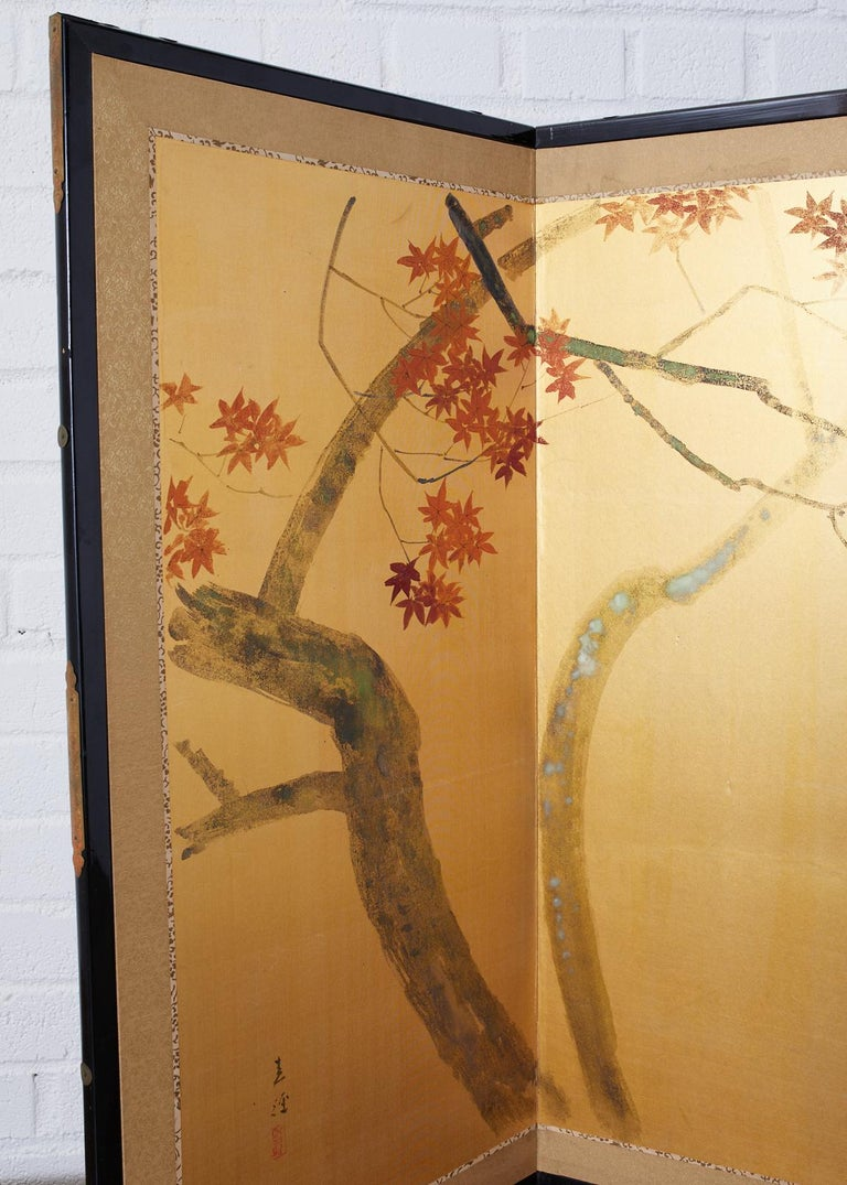 Japanese Four-Panel Screen Autumn Maple and Chrysanthemum For Sale 7