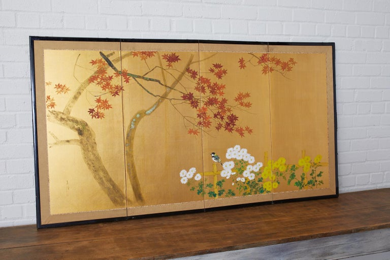 Showa Japanese Four-Panel Screen Autumn Maple and Chrysanthemum For Sale