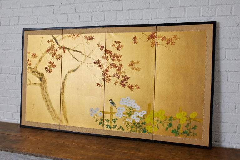 Gilt Japanese Four-Panel Screen Autumn Maple and Chrysanthemum For Sale