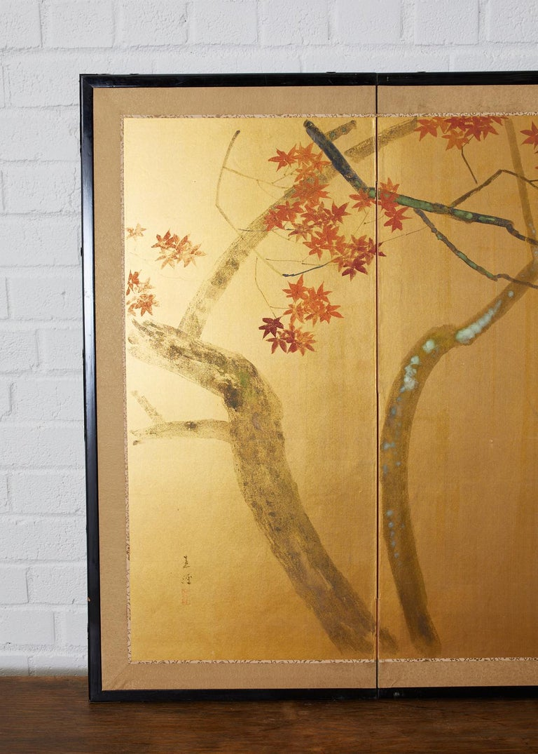Japanese Four-Panel Screen Autumn Maple and Chrysanthemum In Good Condition For Sale In Oakland, CA