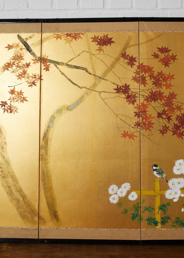 20th Century Japanese Four-Panel Screen Autumn Maple and Chrysanthemum For Sale