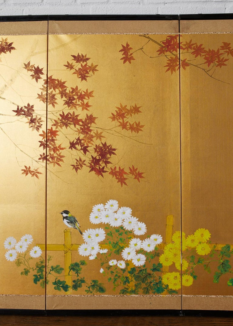 Silk Japanese Four-Panel Screen Autumn Maple and Chrysanthemum For Sale