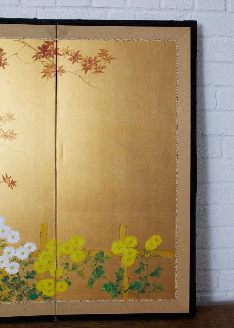 Japanese Four-Panel Screen Autumn Maple and Chrysanthemum For Sale 1