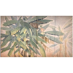Japanese Four Panel Screen: Banana Grove