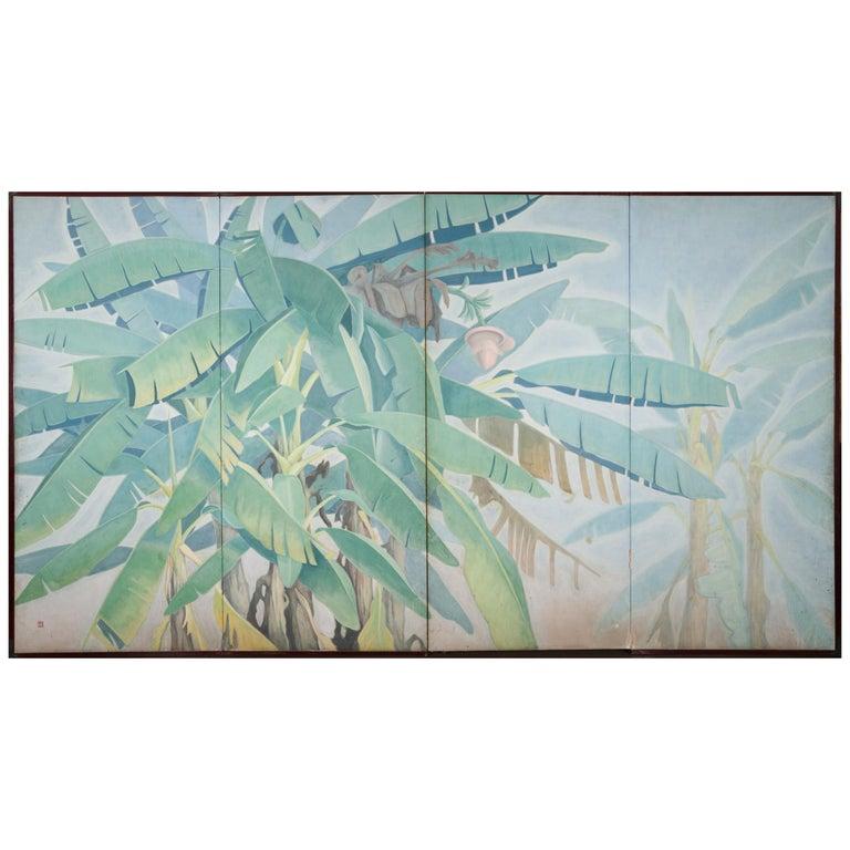 Japanese Four Panel Screen Banana Grove For Sale