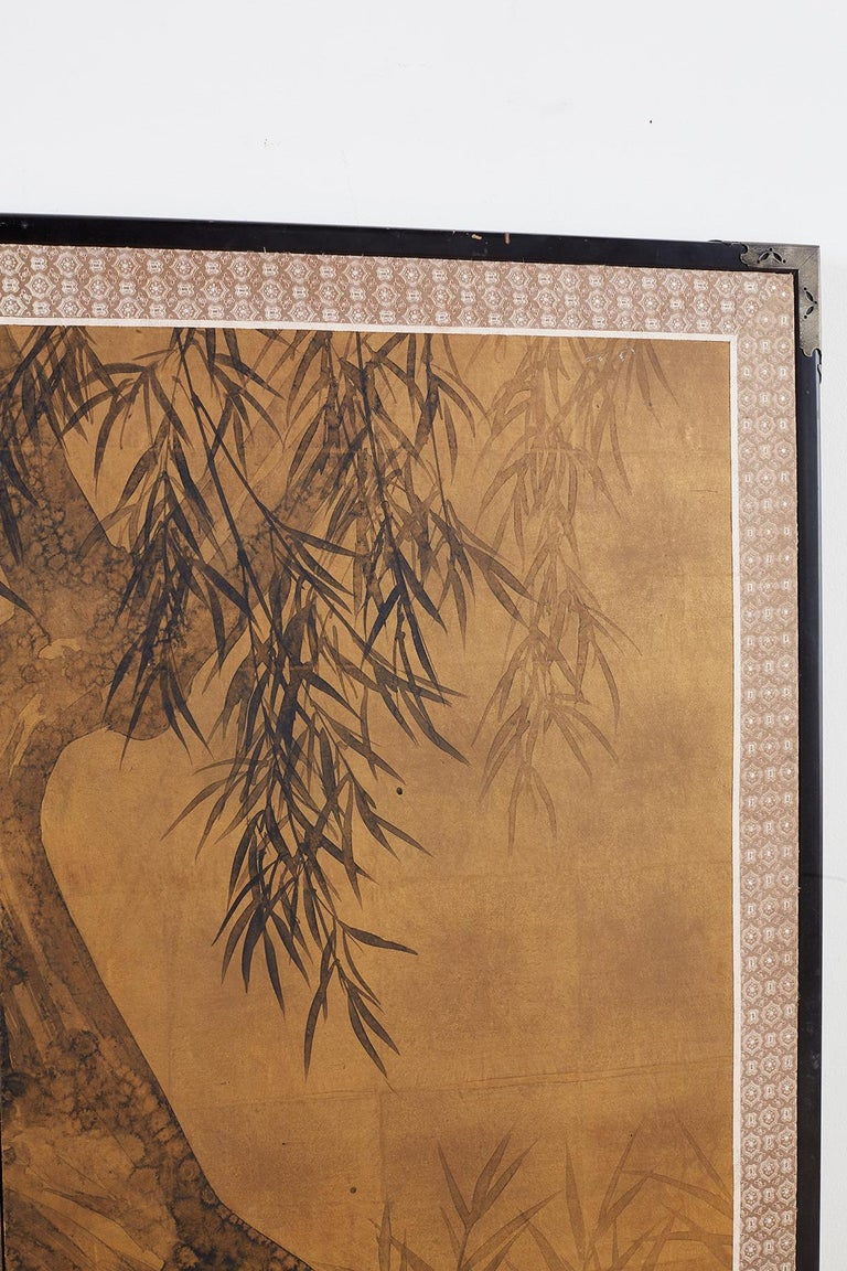 Japanese Four-Panel Screen Blue Herons on Willow Tree For Sale 3