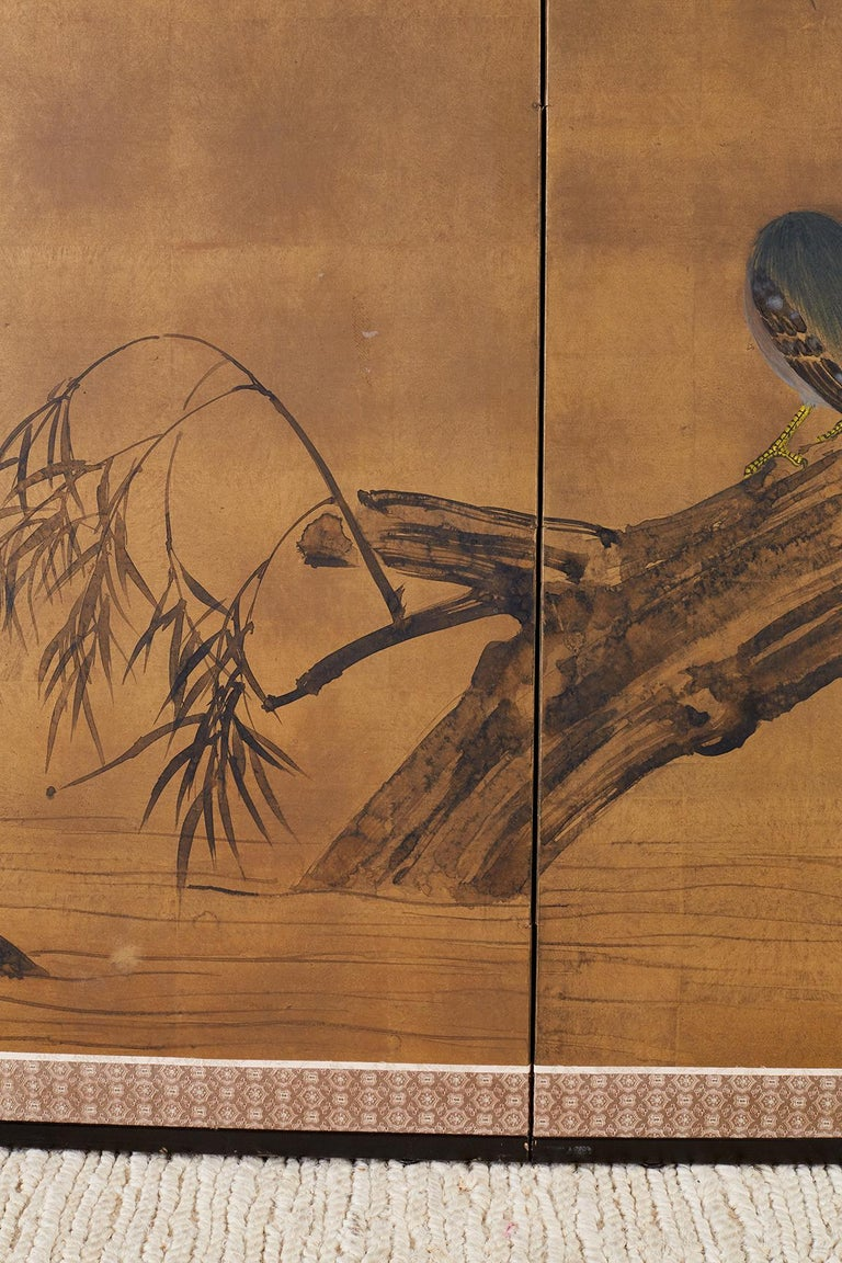 Japanese Four-Panel Screen Blue Herons on Willow Tree For Sale 5