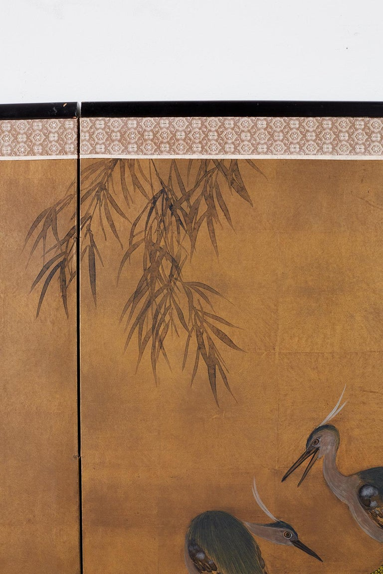 Japanese Four-Panel Screen Blue Herons on Willow Tree For Sale 6