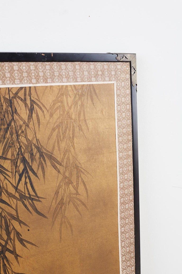 Japanese Four-Panel Screen Blue Herons on Willow Tree For Sale 7