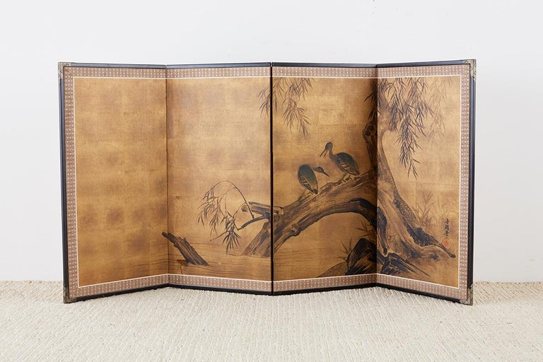 Japanese Four-Panel Screen Blue Herons on Willow Tree For Sale 8