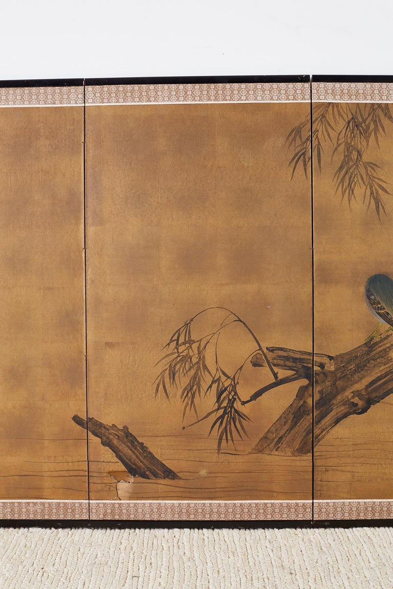 Lacquered Japanese Four-Panel Screen Blue Herons on Willow Tree For Sale